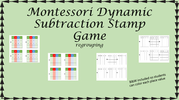 Montessori Stamp Game Dynamic Subtraction (regrouping)