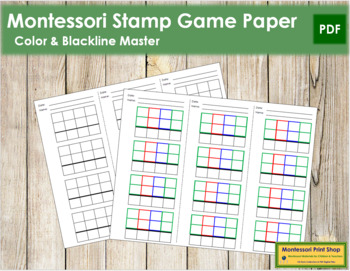 Stamp Game Paper - Montessori