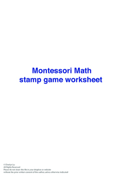 Montessori Stamp Game worksheet