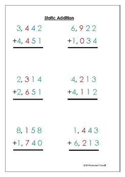 Montessori Static and dynamic addition printable