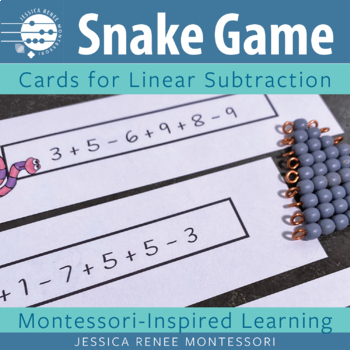 Montessori Subtraction Snake Game Cards