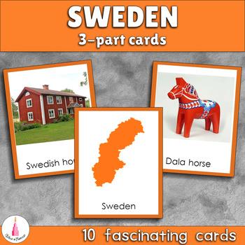 Sweden Montessori 3-part Cards
