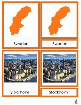 Sweden Montessori 3-part Cards
