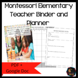 Montessori Teacher Binder - Free updates until December 2020
