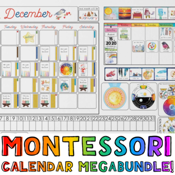 Bundle! Montessori-Themed Giant Wall Calendar AND Matching Trackers!