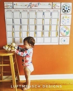 Montessori-Themed Giant Wall Calendar, Perpetual Calendar, Calendar ONLY