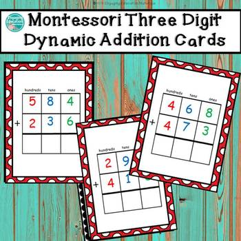 Montessori Three-Digit Dynamic Addition Cards