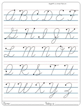 Montessori Tracing small cursive letters in one letter page Uppercase. Free