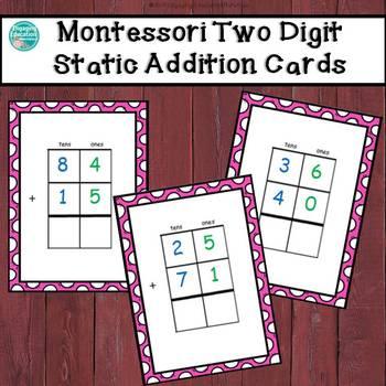 Montessori Two-Digit Static Addition Cards