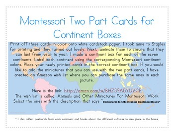 Montessori Two Part Cards for Continent Boxes