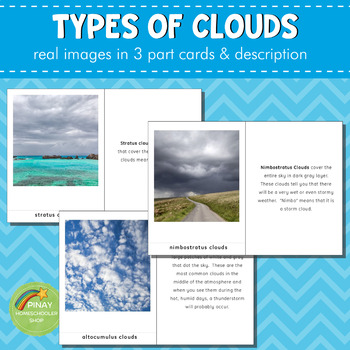 Montessori Types of Clouds 3 Part Card and Definition