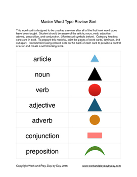 Montessori Types of Words Sorting Review