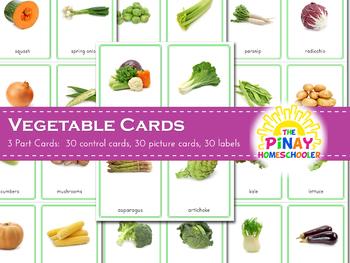 Montessori Vegetables 3 Part Cards