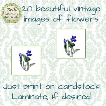 Montessori - Vintage Flowers Matching Cards