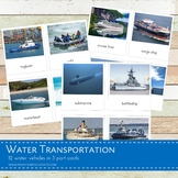 Montessori Water Transportation 3 Part Cards