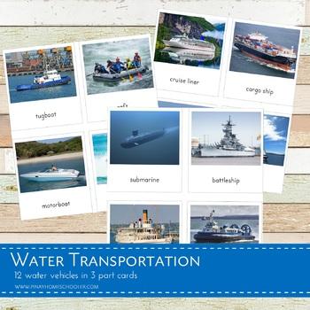 Montessori Water Transportation 3 Part Cards
