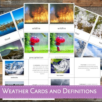 Weather Montessori 3 Part Cards and Definitions