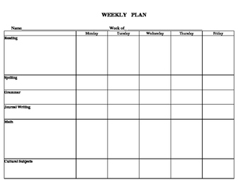 Montessori Weekly Plan Template