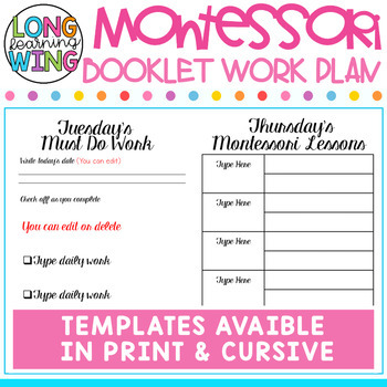 Montessori Work Plan