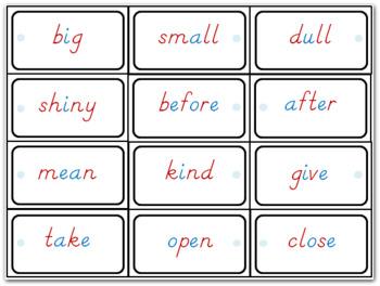 Montessori antonym cards