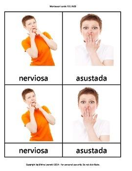 Montessori cards in Spanish: Feelings SENTIMIENTOS