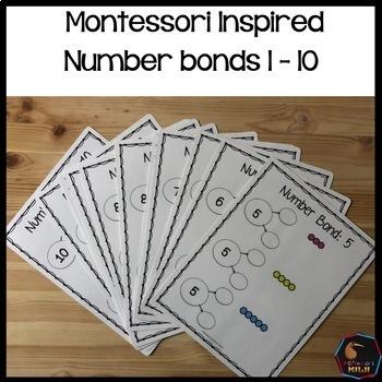 Montessori colored bead number bonds