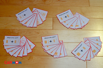 Montessori dynamic addition command card. Graphic task card for golden bead sys
