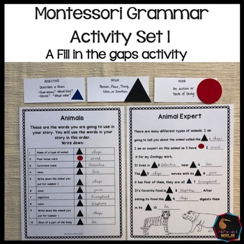 Montessori grammar activity set 1