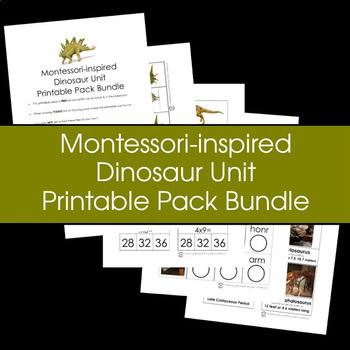 Montessori-inspired Dinosaur Unit Printable Pack Bundle