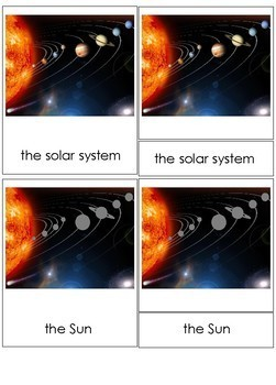Sequence of Planets Matching Cards + Montessori 3-part Cards