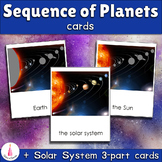 Sequence of Planets Matching Cards + Solar System Montessori 3-part Cards