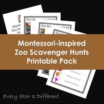 Montessori-inspired Zoo Scavenge Hunts Printable Pack
