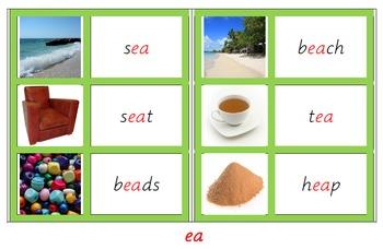 Montessori language materials - Green series - digraphs an