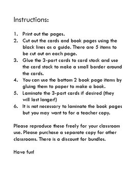 Montessori nomenclature 3-part cards and control book parts of speech set of 9
