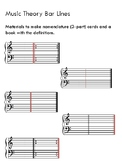 Montessori nomenclature 3 part cards and book music theory bar lines set of 5