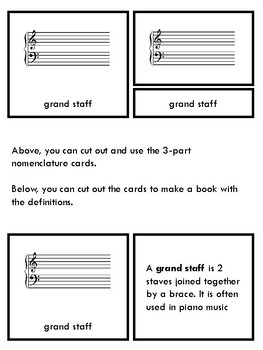 Montessori nomenclature 3 part cards and book music theory grand staff set of 5