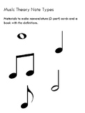 Montessori nomenclature 3-part cards and book music theory note types set of 5