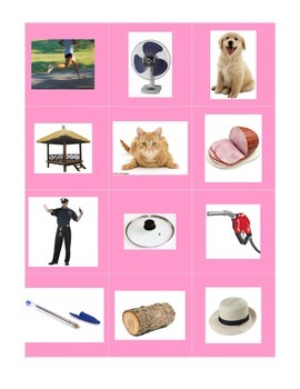 Montessori pink short phonetic picture & word cards + picture sheets - matching