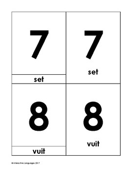 Montessori vocabulary 3-part cards numbers (1-10) Catalan