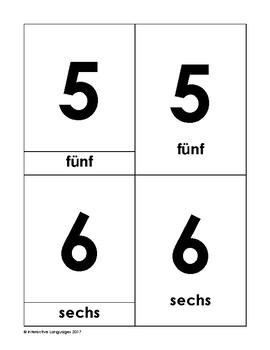 Montessori vocabulary 3-part cards numbers (1-10) German