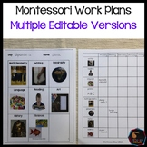 Montessori work plans - Editable