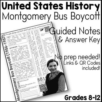 Montgomery Bus Boycott Guided Notes Worksheet & Answer Key