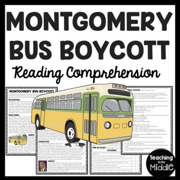 Montgomery Bus Boycott Reading Comprehension Worksheet, Civil Rights, Rosa Parks