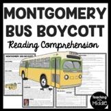 Montgomery Bus Boycott Reading Comprehension Worksheet, Civil Rights, Rosa Parks