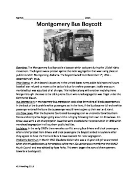 Montgomery Bus Boycott - Review Article - Martin Luther Ki