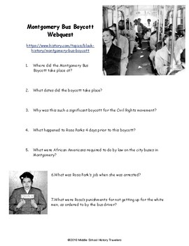 Montgomery Bus Boycott Webquest Civil Rights Movement
