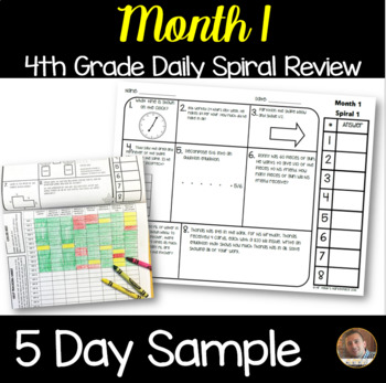 **Month 1** Math Spiral Review 5-Day SAMPLE: Daily Math for 4th Grade