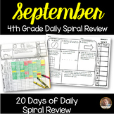 September Math Spiral Review (MONTH 1): Daily Math for 4th Grade