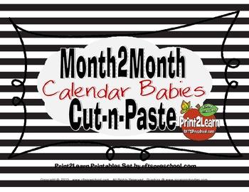 Month 2 Month Calendar Babies {Cut-n-Paste}