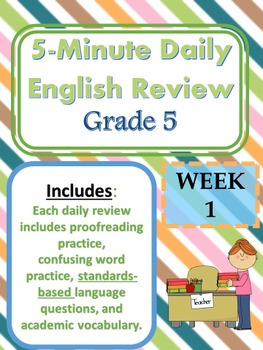Month 3-- Daily ELA Practice--Common Core--Grade 5